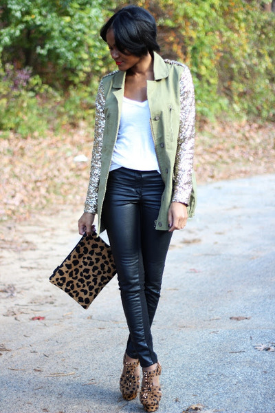 olive green Missguided jacket - black H&amp;M pants