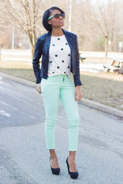 aquamarine Old Navy pants - cream J Crew top