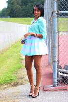 periwinkle H&M skirt - aquamarine Nordstrom top