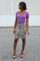 tan Forever 21 skirt - amethyst delias shirt - Shop Dazzle sandals