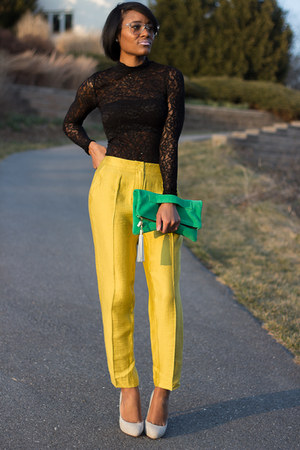 yellow asos pants