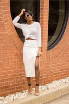 white H&M sweater - white asos skirt