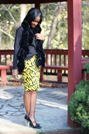 yellow asos skirt - black Zara heels
