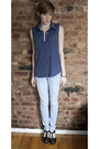 Light-blue-skinny-forever-21-jeans-navy-button-up-forever-21-top