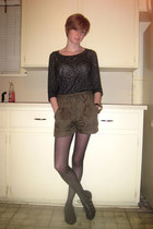 charcoal gray Sparkle & Fade sweater - olive green Sparkle & Fade shorts - black
