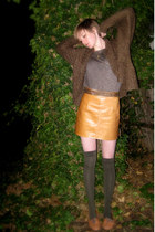 tan thrifted vintage skirt - black thrifted vintage belt - light brown Forever 2