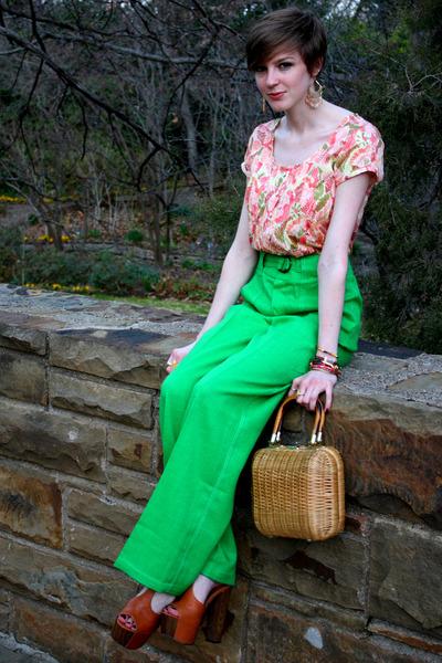 green high waist vintage pants - light brown basket thrifted purse