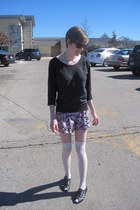 light purple floral Topshop shorts - cream sweater the icing socks - dark gray d