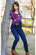 deep purple crop fringe top - skinny Paige Premium Denim jeans