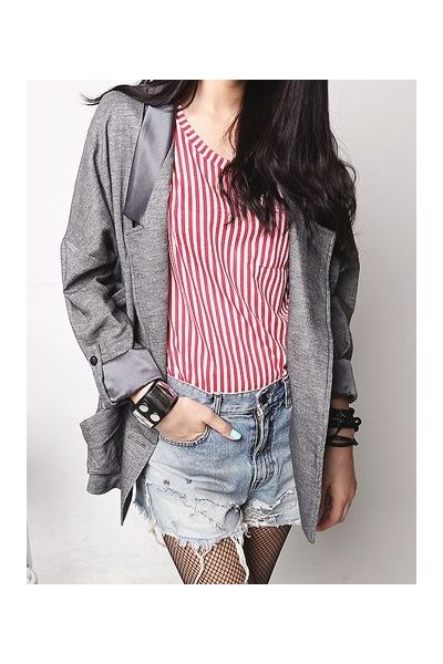 blue amour la vie shorts - gray amour la vie blazer - red amour la vie t-shirt