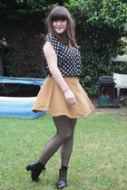 American Apparel skirt - vintage boots - Topshop top