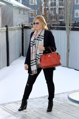 plaid Burberry scarf - ankle boots rag & bone boots - navy Burberry coat