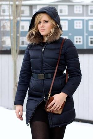 Prada boots - blue Prada coat - Burberry purse