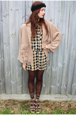 dark brown Plaid Vintage dress - dark brown ebay lace tights leggings - beige Fr