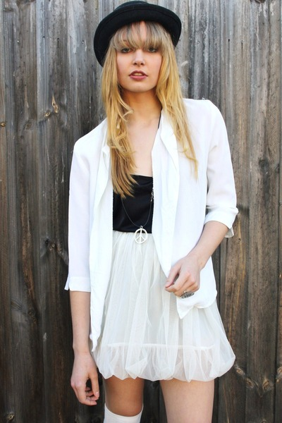 white Studded rose vintage jacket - white Ebay skirt - black
