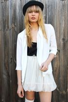 white Studded rose vintage jacket - white Ebay skirt - black