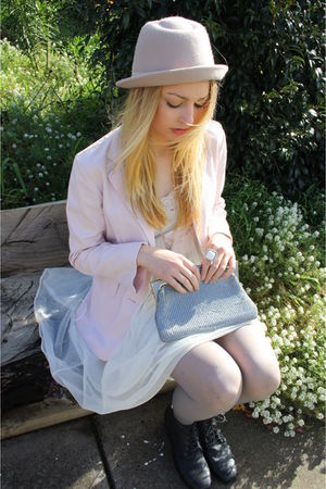 white thrifted dress - beige thrifted jacket - silver glomesh bag accessories -