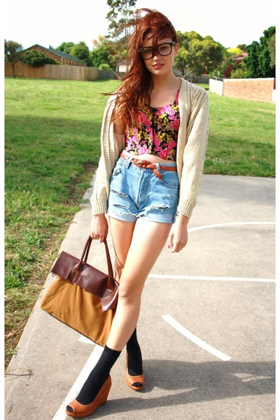 Tan wedges shoes - self cut thrifted shorts - Studded rose vintage top