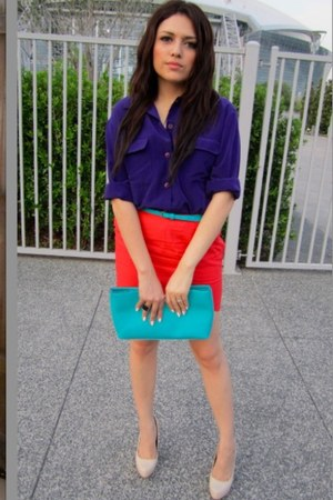 torquoise vintage purse - nude Charlotte Russe pumps - torquoise Forever21 belt