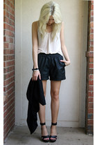 black leather gianni bini shorts - beige tank BCBG top - black Forever 21 vest