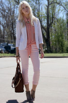 light pink Ebay pants - white linen Urban Outfitters blazer