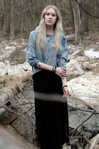 deep purple prism H&M ring - black maxi skirt BCBGeneration skirt