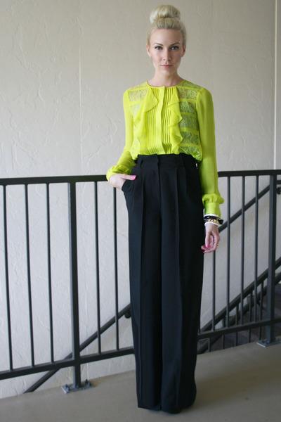 black litas Jeffrey Campbell boots - yellow silk BCBG top