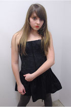 black Forever21 skirt - black handmade intimate - thrifted leggings