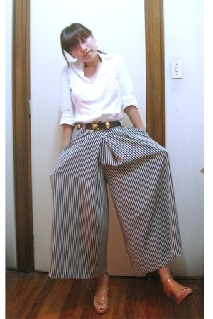 vintage belt - Trunkshow shoes - thrifted pants - white polo Mango top