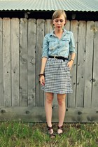 light blue chambray thrifted shirt - black gingham thrifted vintage skirt