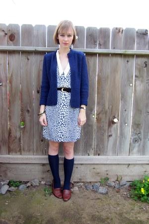 white heart print thrifted dress - navy knee high socks