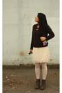 Heather-gray-attimo-boots-dark-brown-diy-lcw-jumper-neutral-vila-skirt