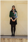 Black-marks-spencer-shoes-ruby-red-self-made-scarf-dark-green-lcw-cardigan