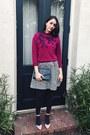 Charcoal-gray-rachel-zoe-dress-magenta-vintage-sweater