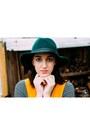Forest-green-aldo-hat-black-h-m-shirt-gold-thrifted-vintage-jumper