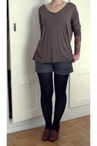 Vero Moda shirt - H&M shorts - H&M tights - Zara shoes