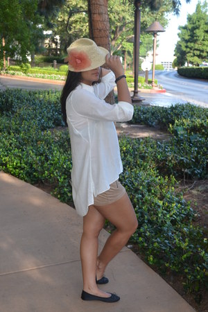 white dip back new look blouse - black jute Macys hat - brown swead H&M shorts