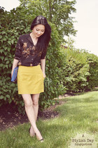 vintage top - yellow skirt