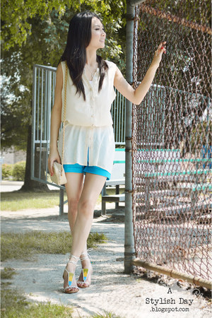 turquoise shorts - lace-up sandals