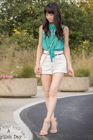high waisted shorts - front tie shirt