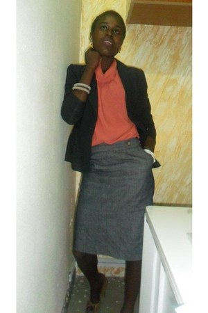 black blazer - orange blouse - off white bracelet - heather gray skirt
