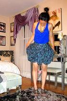 blue Forever21 top - purple Vivienne Tam skirt - black Prada shoes