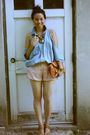 Blue-vintage-ralph-lauren-shirt-shirt-pink-alex-lane-shorts-brown-prada-shoe