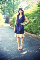 beige vintage MIU MIU skirt skirt - blue rachel by rachel roy scarf dress dress