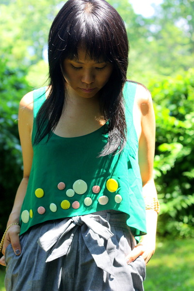 green vintage Miu Miu top - silver H&M pants