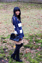 Trovata sweater - vintage ferragamo clutch - Zara boots - Etsy necklace