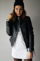 white Zara dress - black leather Zara jacket