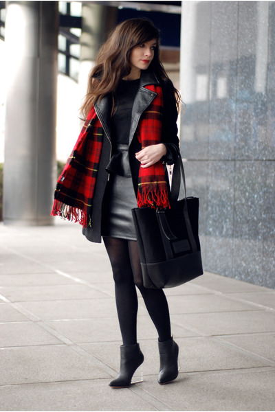 black oryginal Choies shoes - black leather Sheinside coat - red check H&M scarf