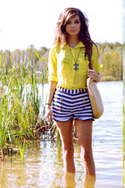 light yellow New Yorker top - H&M bag - white Bershka shorts