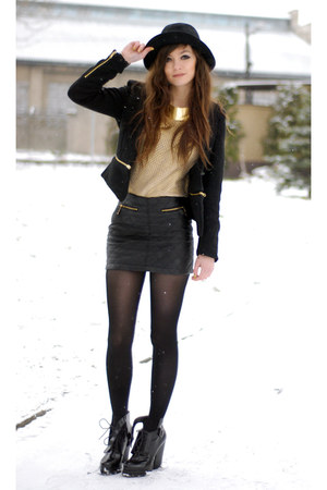 black zip Zara blazer - yellow gold H&amp;M jumper - black short Sheinside skirt